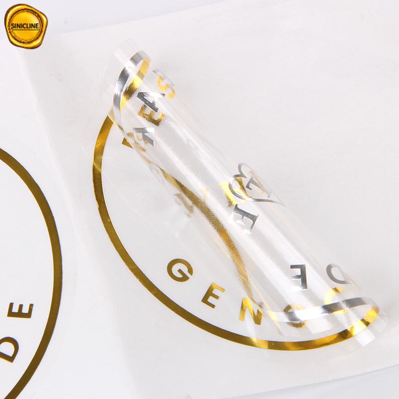 Sinicline personalizado impressão de logotipo da folha de ouro embalagem rodada adesivo transparente