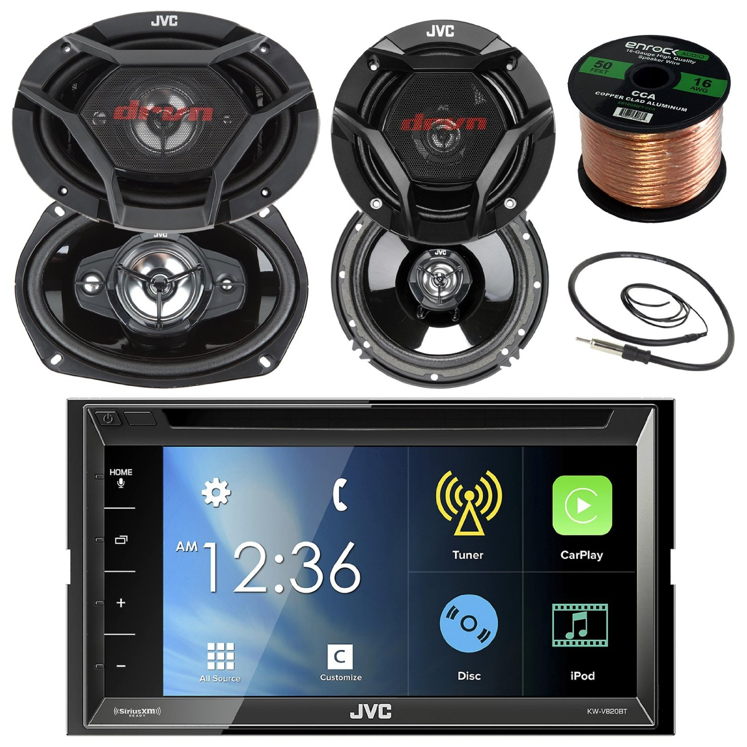 "JVC KWV820BT 6.8"" Touch Screen Car CD/DVD Bluetooth Receiver Bundle Combo With 2x Dual 6.5"" 2-Way And 2x 6x9"" Inch 4-Way Audio Coaxial Speakers + Enrock 22"" AM/FM Antenna + 50 Ft 16 Guage Speaker Wire"