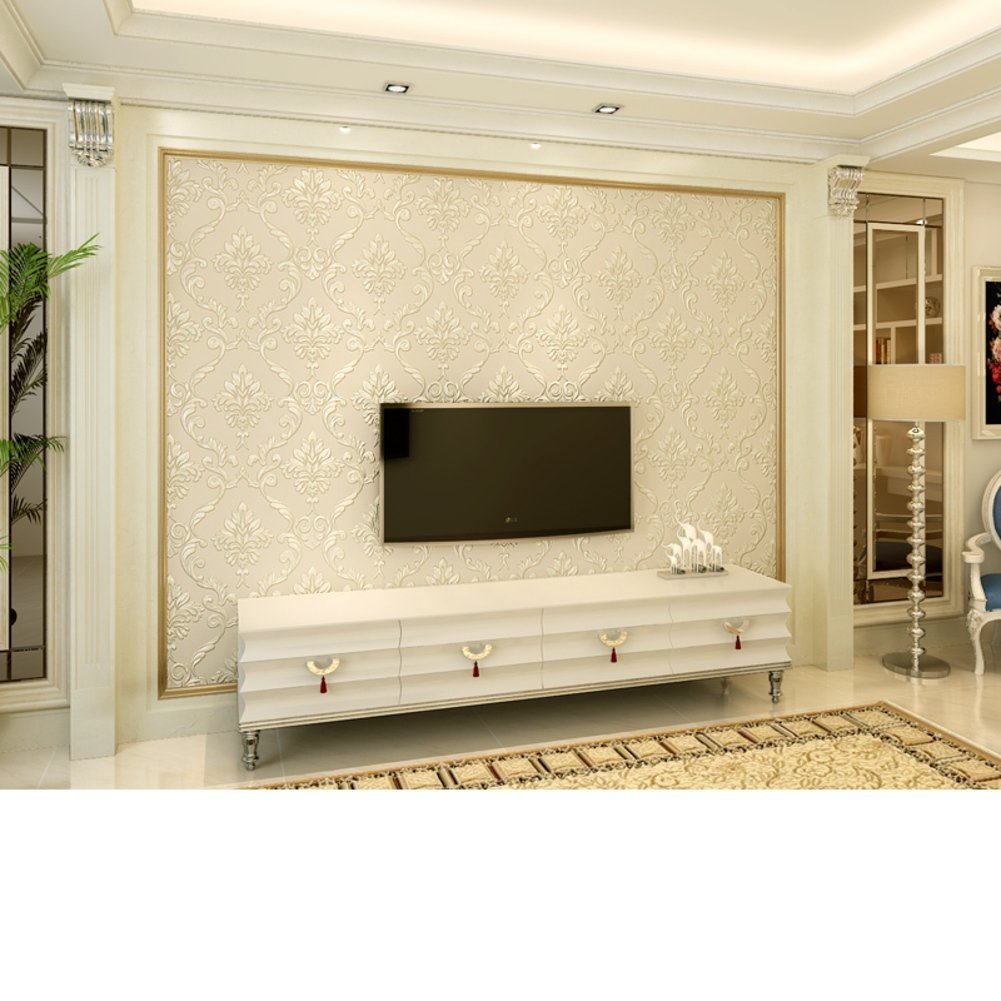 DXG&FX European-style wallpapers Living room the nonwoven wallpaper of Damascus Bedroom TV background wall wallpaper 3D-dimensional stereo-embossed wallpaper-D