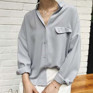 or30001a casual wholesale women V-neck blouse tops new pattern chiffon t shirts for autumn