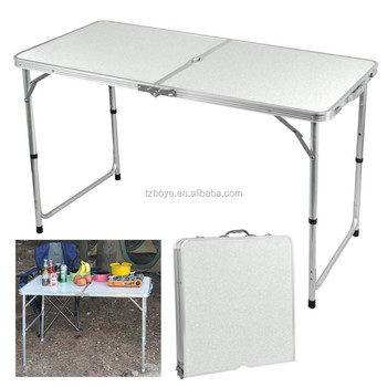 Outdoor 4 Foot Aluminium Folding Portable Camping Picnic Party Dining Table  Height Adjustable