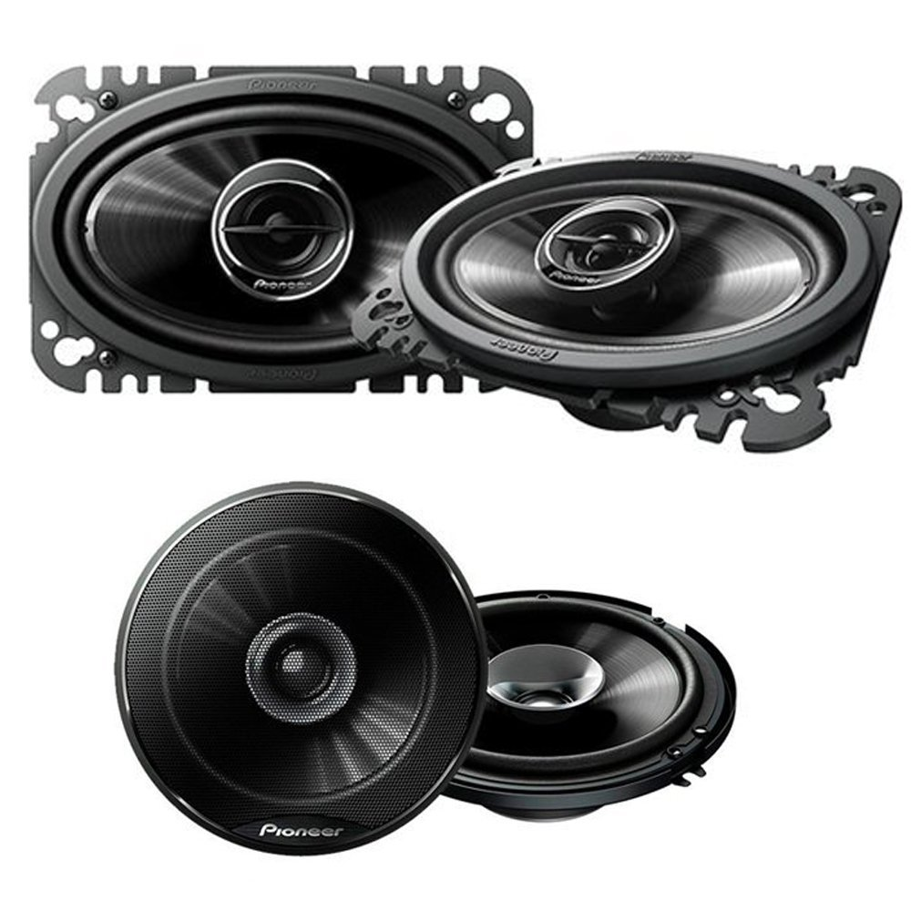 "Pioneer TS-G4645R 200W 4 x 6"" 2-Way G-Series Coaxial Car Speakers ( PAIR) + Pioneer TS-G1645R 250W 6-1/2"" 2-Way G-Series Coaxial Car Speakers ( PAIR)"