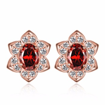 Fashionable Stud Daily Wear Earrings For Women Flower Hoop Crystals From Swarovski