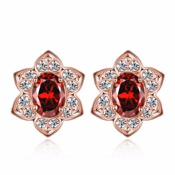 Fashionable Stud Flower Hoop Earring Crystals From Swarovski