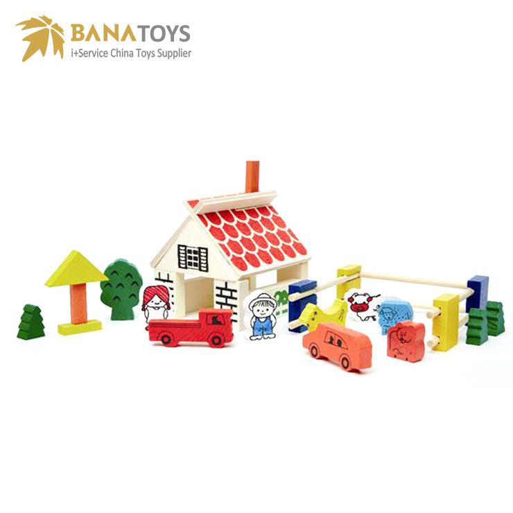 Niños educativo edificio granja bloques de madera de juguete ...