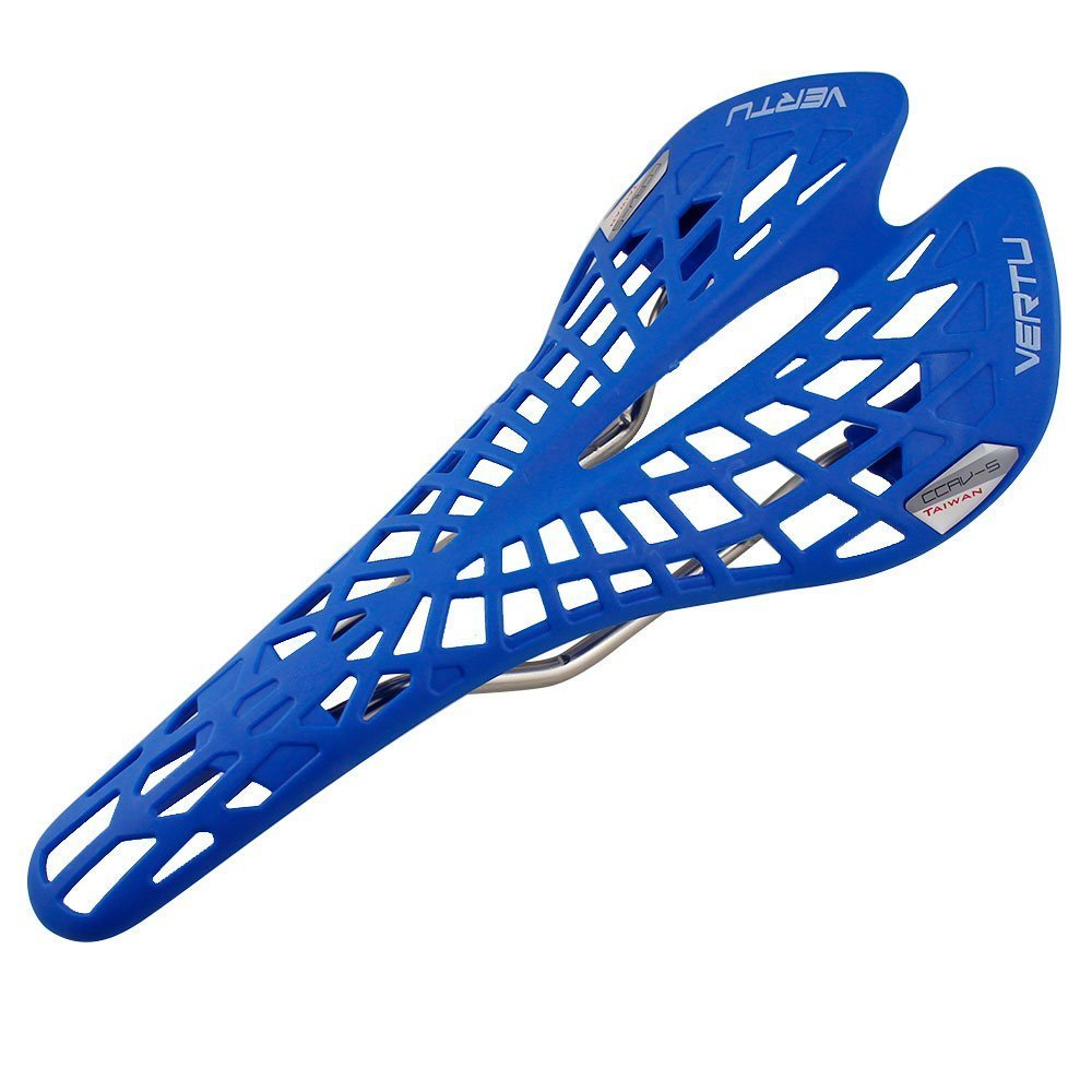 bicycle saddle - VERTU Super Comfortable Breathable MTB bicycle saddle touring saddle for ladies and gentlemen (Blue)
