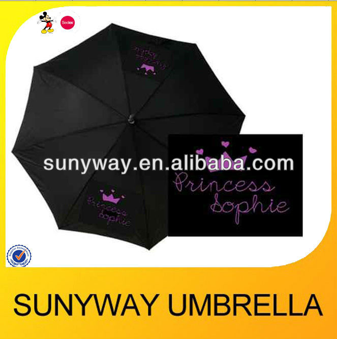 23''*8ribs Princess print straight umbrella