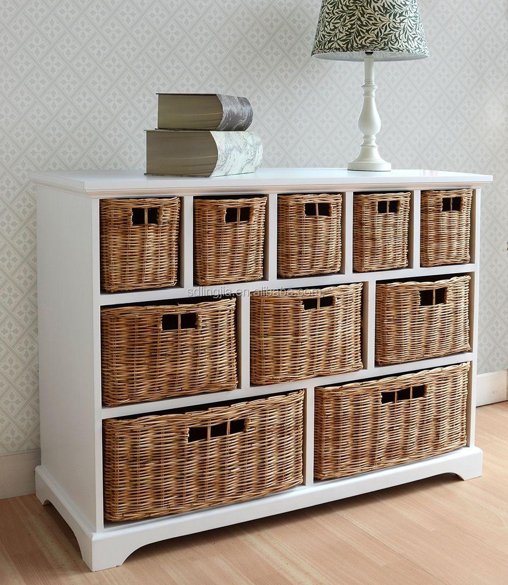 White Wood Wicker Storage Basket Drawer Cabinet Furniture