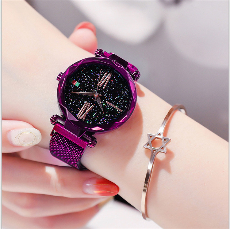 2019 Ladies Gift Fashion Reloj Starry Sky Alloy Magnet Buckle Mesh Belt Watch Casual Quartz Shining Star Point Analog Watch