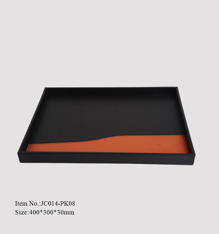 luxury custom compartments PU leather serving tray for hotel