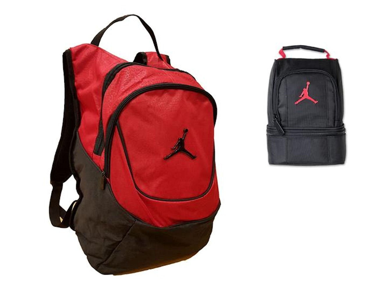 f2d299d331b Get Quotations · Nike Air Jordan Jumpman 23 Red   Black Backpack Lunch Tote  Bag Combo + FREE Cell