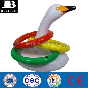promotional custom inflatable toys swan ring toss game white swan hat summer party beach game animals toys