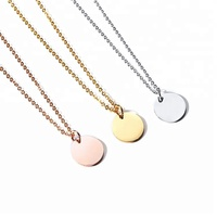 Fashion High Quality Engraved Logo 316L Stainless Steel Round Plates Blank Pendant Necklace
