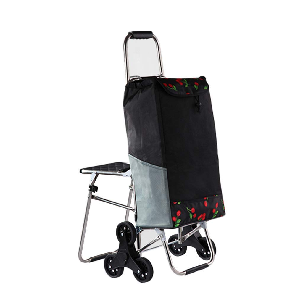 Home Climbing Stairs with stools Folding Luggage cart Trolley Supermarket Small cart Shopping cart Shopping cart (Color : Black, Size : 444994cm)