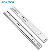 Ball bearing telescopic channel double spring soft close drawer slides