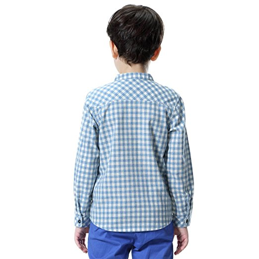 Classical fashion kid cotton check long sleeve t-shirt