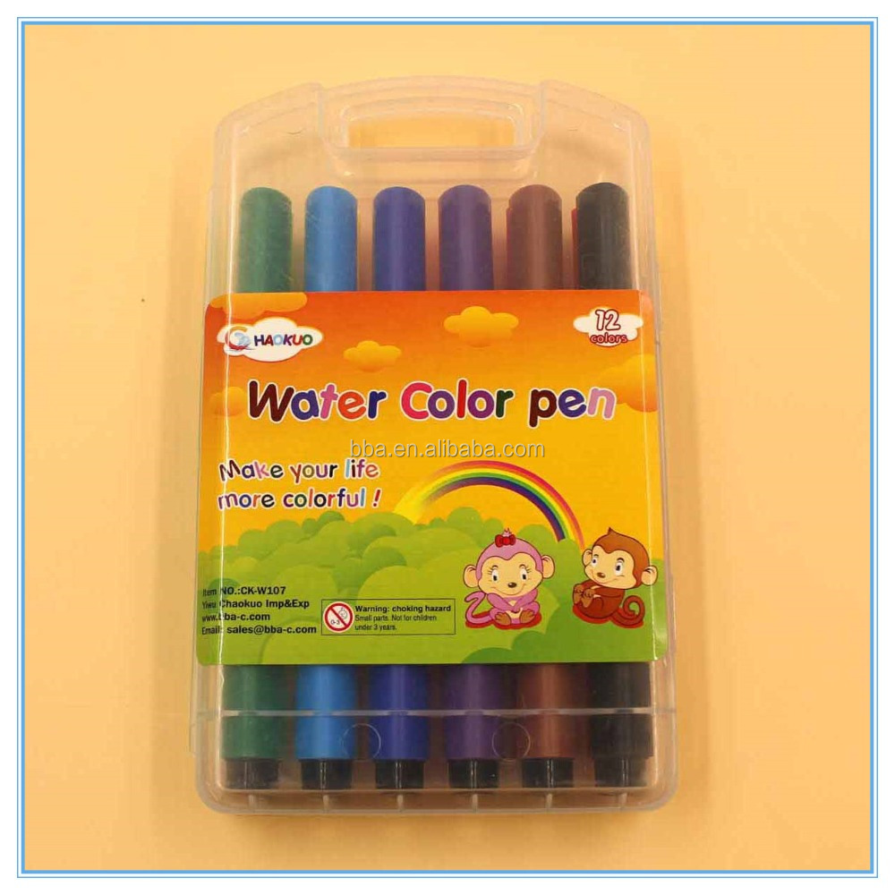 12 colors EU standard triangle shape felt tip kisds drawing water color pen