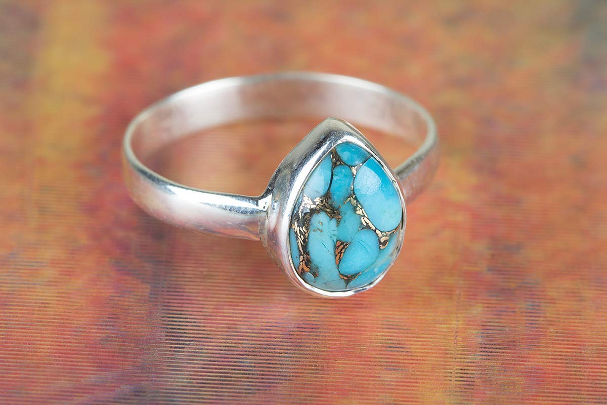 Blue Copper Turquoise Ring, 925 Sterling Silver, Extraordinary Ring, Teardrop Ring, Natural Ring, Bohemian Jewelry, Elegant Ring, Festival Ring, Daily Wear Ring, Promise Ring, Tiny Ring, US All Size