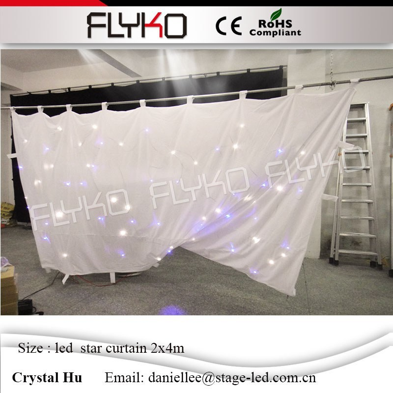 Flyko best suppliers factory price 2mx4m led star curtain beautiful backdrop wall protable led star cloth