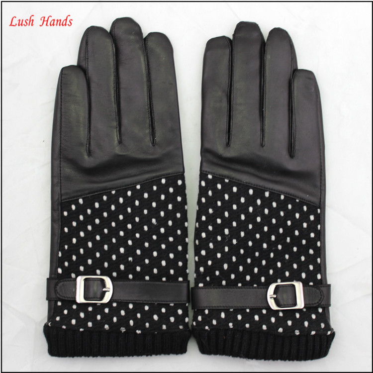 ladies wholesale fashion genuine leather sheepskin hand gloves black with woolen