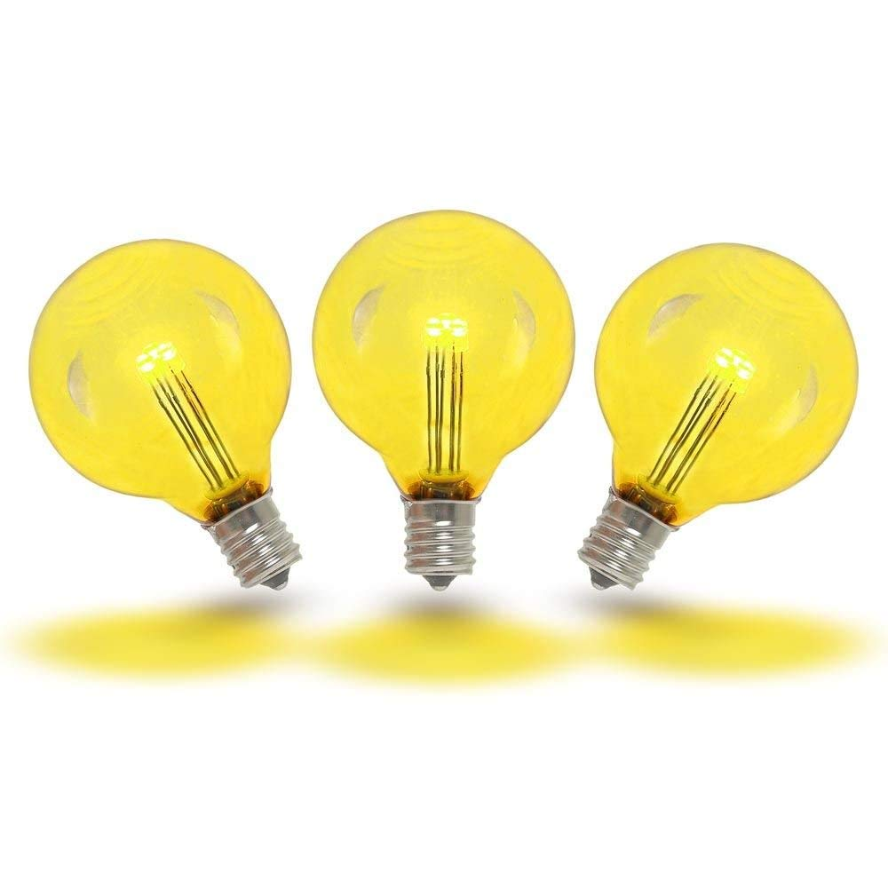 Novelty Lights 25 Pack G40 LED Outdoor String Light Patio Globe Replacement Bulbs, Yellow, 3 LED's Per Bulb, Energy Efficient