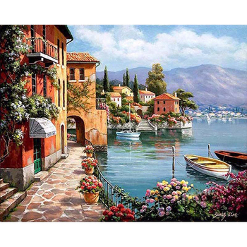 Manufacturer Selling Framed DIY Painting By Numbers Paris Landscape Acrylic Painting Hand Painting Oil Canvas