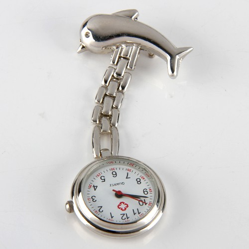 Quality Fashion Silver Tone Fish Dolphin Nurse Watch Wear On Clothes Pin Tunic Fob Kid Child Lady