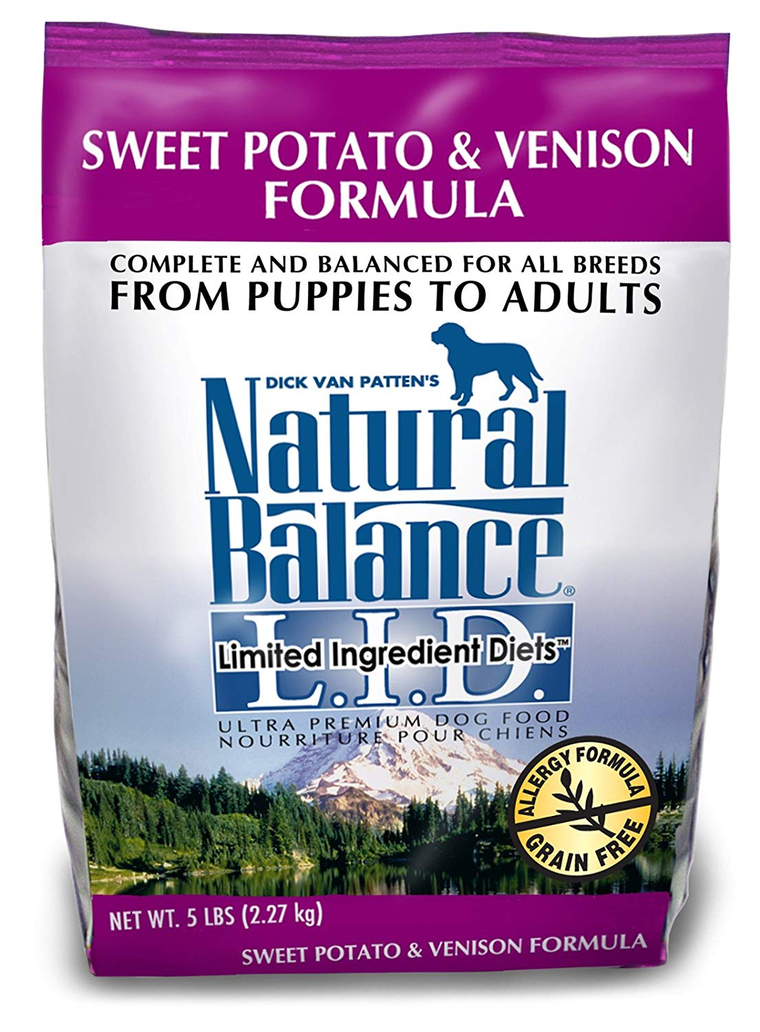 Natural Balance Sweet Potato and Venison Formula Dog Food, 5-Pound Bag