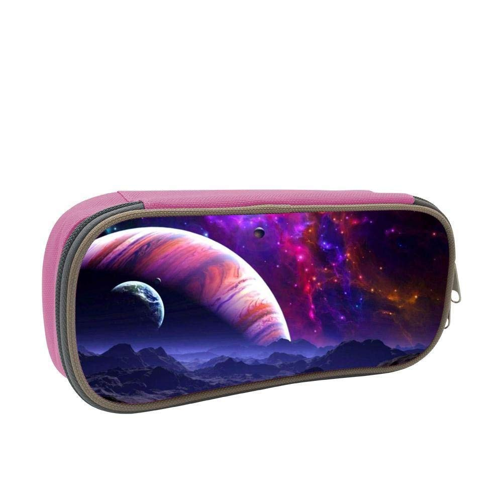Space Discoveries NASA 3D Printed Large Capacity Student Pencil Case Portable Pouch Pen Case Multifunction Canvas Pencil Case with Double Zipper Storage Organizer for Kids Tteens