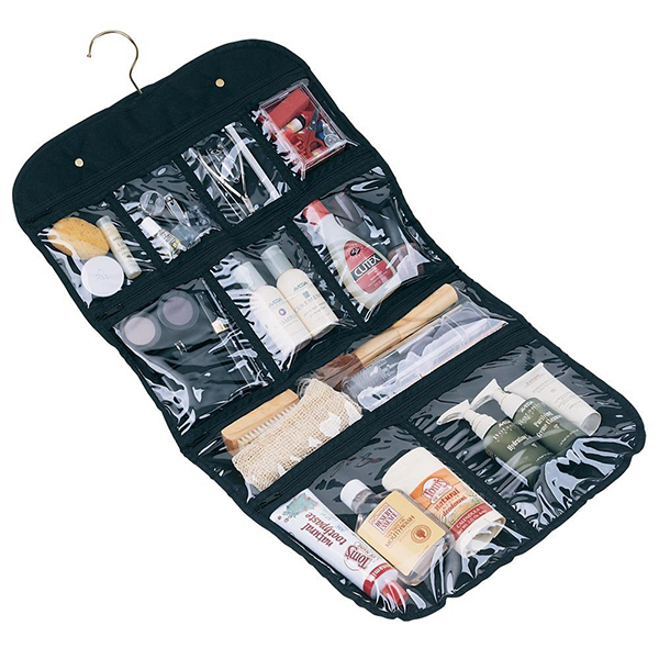 Polyester Cosmetic Organizer With Clear Window Cosmetic Bag