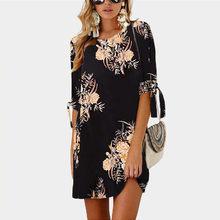 Плюс Размеры 5XL женское платье Лето 2020 Boho Стиль Цветочный принт шифоновое пляжное платье пикантный летний сарафан Свободные мини Платье для...(Китай)