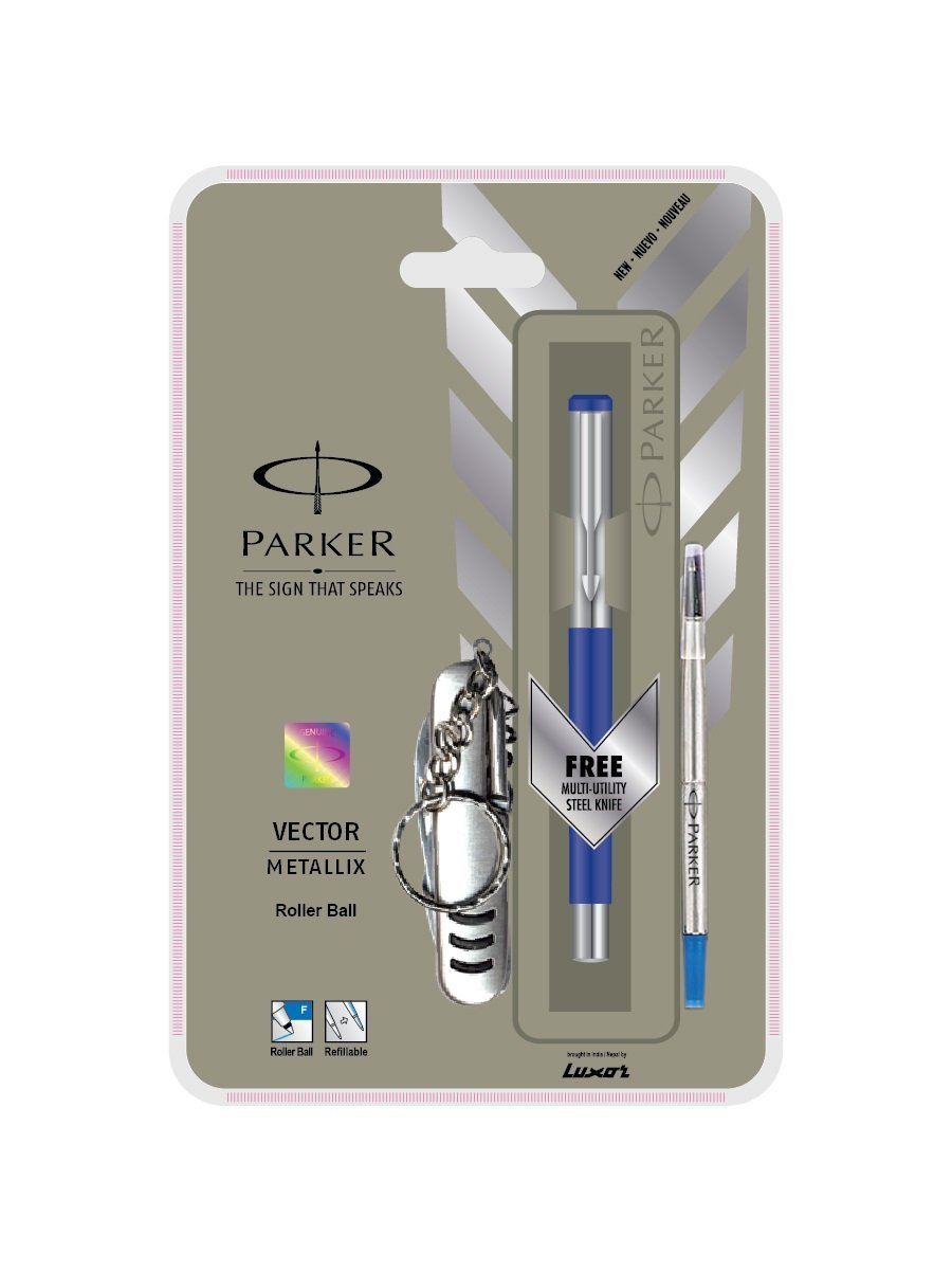 Parker Vector Mettalix Ct Roller Ball Pen (Blue) + Swiss Knife