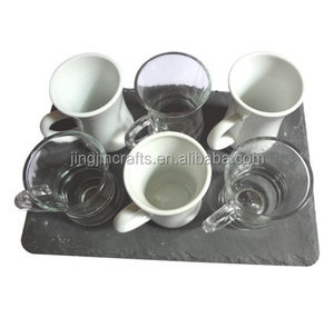 rough edge natural black slate coaster with glass tumbler and porcelain cup