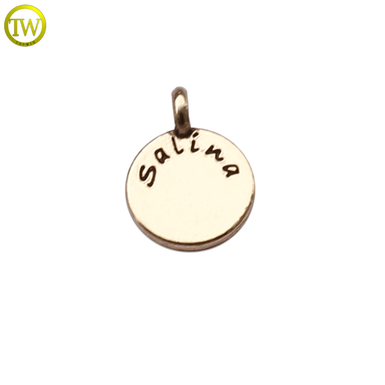 Personalized round enamel logo metal beads engraved metal jewelry charms