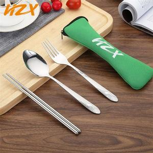 Travel cutlery fork spoon chopsticks gift set, outdoor cutlery with portable colorful pouch