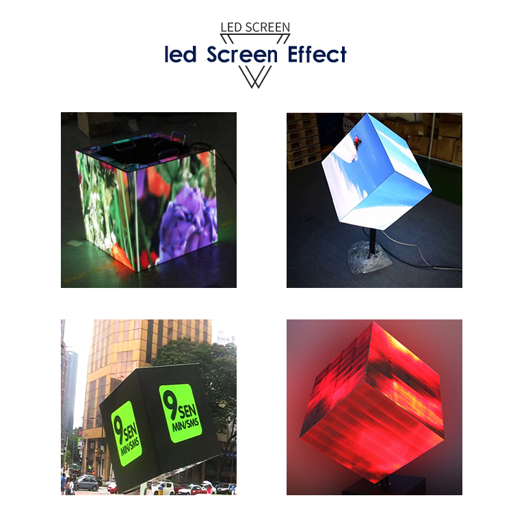 New design Full color HD P2.5 p4 indoor advertising led display cube screen
