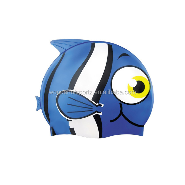 factory direct sun protection silicone child novelty swimming cap,waterproof fish shape swim cap for kids UN-0605