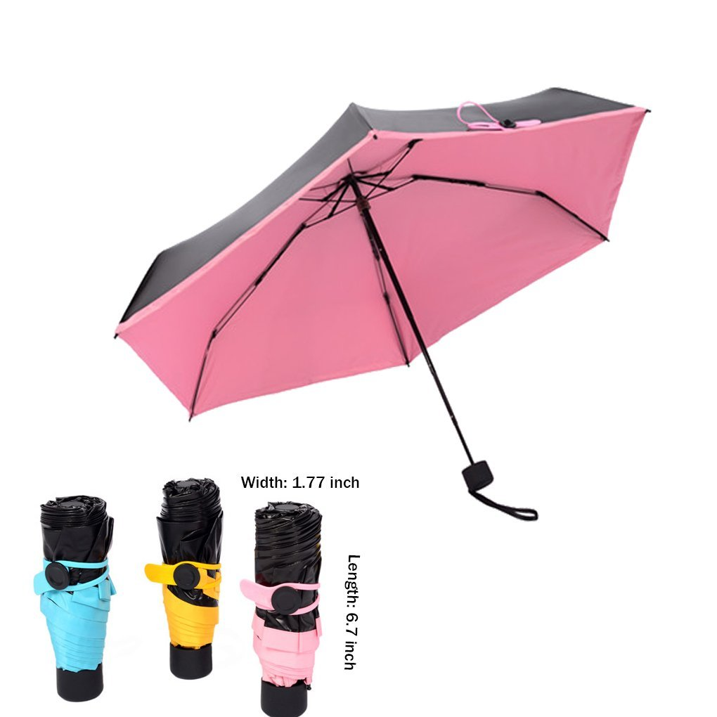 2324c8f7f379 Unisex Women Men Ultralight Five-Folding Compact Mini Anti UV Sun Umbrella  Portable Travel Windproof 99% UV Protection Black Vinyl Pocket Umbrella ...