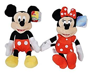 """Disney Mickey and Minnie Mouse 9"""" Bean Plush - 2 Pack"""