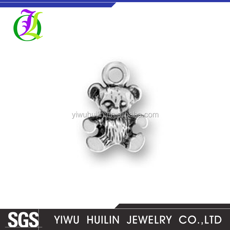 CN184421 Yiwu Huilin Jewelry Silver Plating Bear pendant for Antique kids silver birthday gifts
