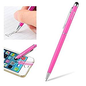 Insten compatible with Apple iPhone XS/XS Max/XR/ 7 Plus/ 6S, Samsung Galaxy Note 9 / Note 8 / S7/S9/S9+ Plus Edge/ S7/Note 4 2-in-1 Capacitive Touch Screen Stylus Ballpoint Pen, Pink