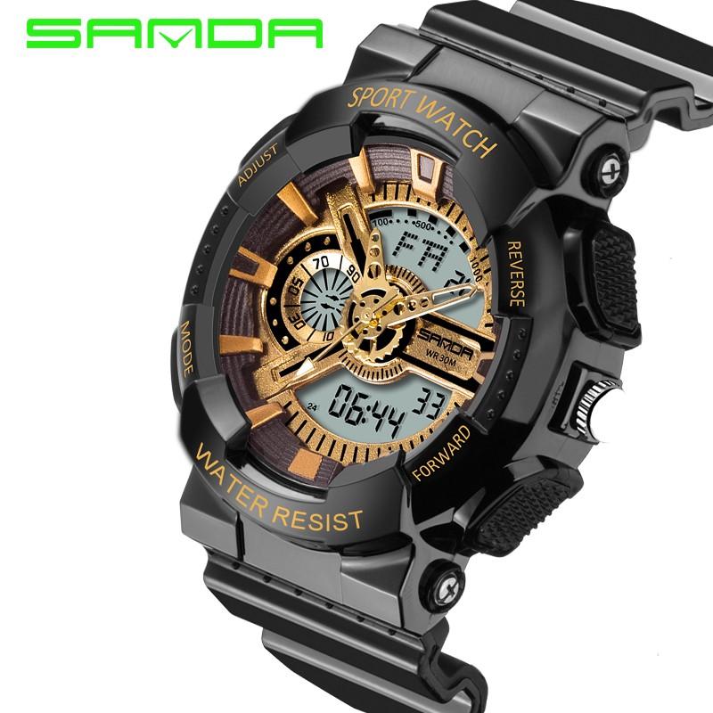 Mens watches 2017 SANDA Fashion watch men G style waterproof shock sport military 5 colors digital luxury analog led watch