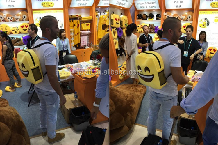 28cm/35cm optional customize made EMOJI kid's plush toys backpack school backpack wholesale