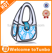 lady fashion 3D cartoon gismo comic hand bag school paper bag stock