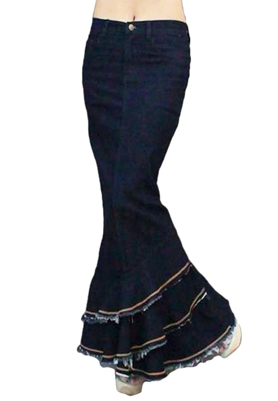 eaf2cf1a4f962 Get Quotations · AvaCostume Womens Denim Pencil Skirt Multilayer Ruffle  Fishtail Skirt