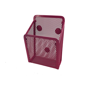 Office stationery organizer red magnetic metal wire mesh desktop pen pencil holder for fridge
