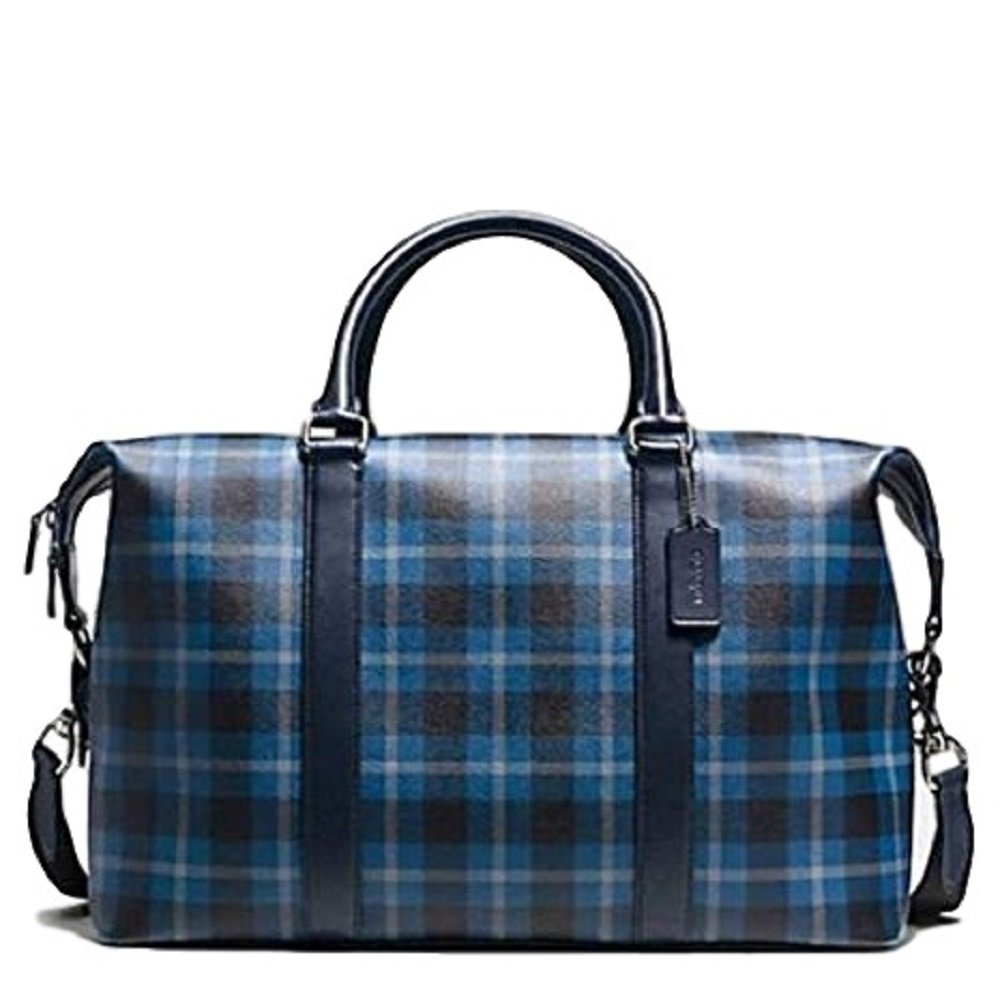 71ef831ad6e5 Get Quotations · Coach Voyager Plaid Printed Coated Canvas Travel Weekend  Duffle Bag F55488