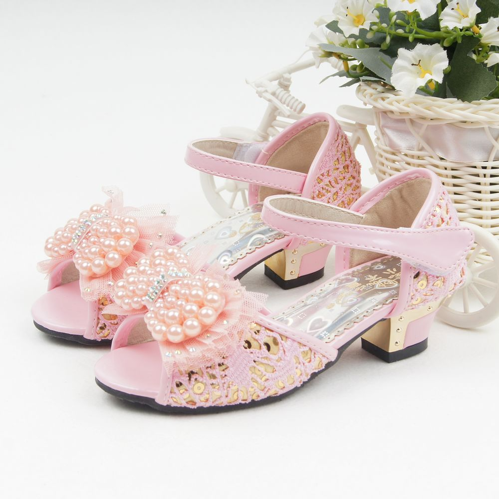 34c0cafd1ad9 Get Quotations · 2014 children sandals for girls fashion high-heeled  princess summer shoes pearl Female child bow