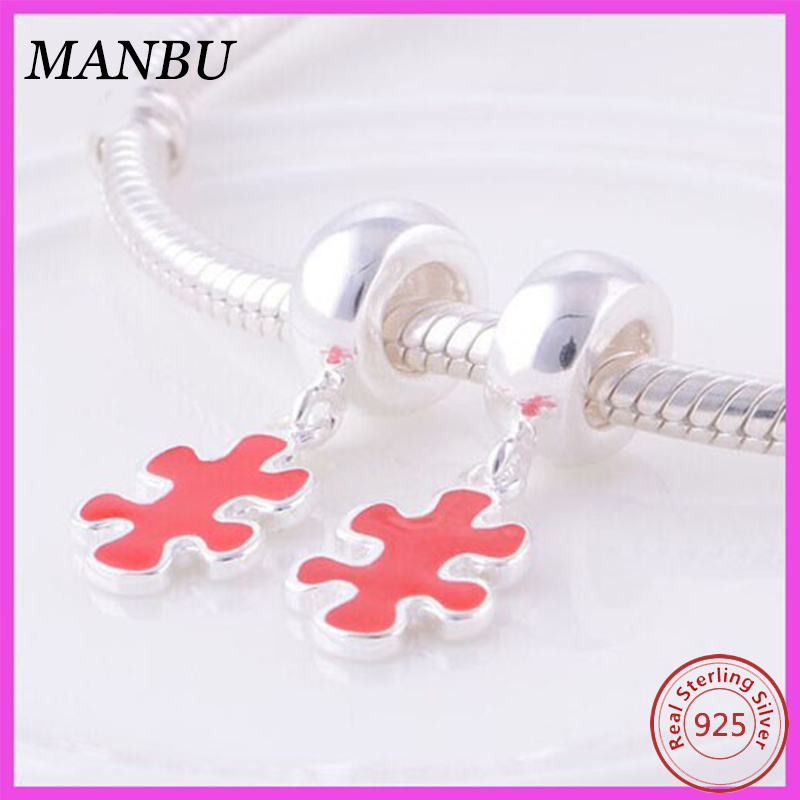 Cute Puzzle enamel Loose Beads 925 Sterling Silver Slide Beads Compatible With European Charm Bracelet
