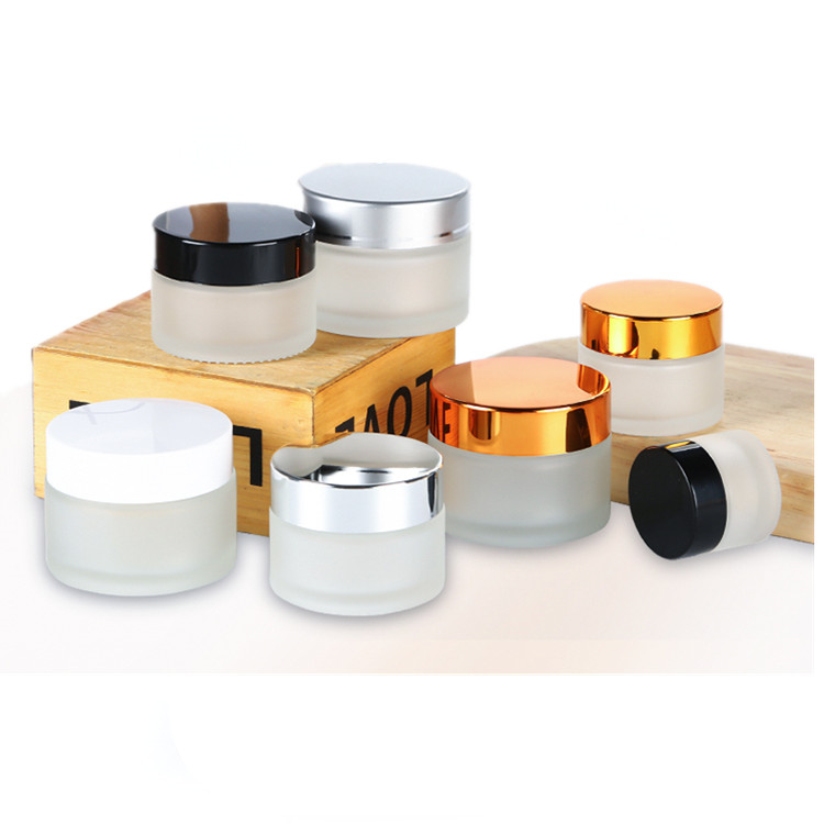 Empty face eye cream jar 5g 10g 15 20g 30g 50g 100g frosted cosmetic cream jar with white black gold silver metal aluminum lid